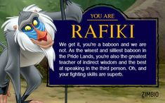 When I took I got Rafiki! If u want to just hit the retake button on the site  good luck!