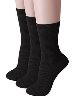 HASLRA Womens Premium Winter Ribbed Cotton Crew Socks 3 Pairs BLACK * Be sure to check out this awesome product.