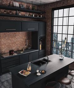 37 Top Kitchen Trends Design Ideas and Images for 2019 Part kitchen ideas; kitchen decorating ideas home renovation 37 Top Kitchen Trends Design Ideas and Images for 2019 Part 9 Industrial Kitchen Design, Industrial House, Industrial Interiors, Interior Design Kitchen, Industrial Kitchens, Architecture Interior Design, Modern Interior, Brick Interior, Black Interior Design