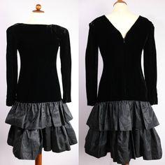 Black velvet dress holiday dress size 4 party by thriftionary