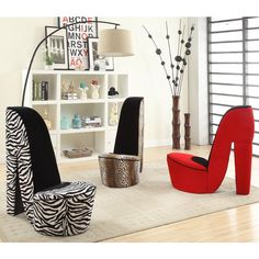 Give your space a bold, trendy style with this cute high-heeled shoe chair. Comfortable and in your choice of two animal prints or a bold red, this unique chair is designed to give your decor that extra zing.