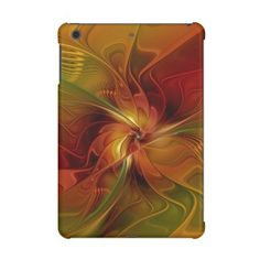 #floral - #Abstract Red Orange Brown Green Fractal Art Flower iPad Mini Cover