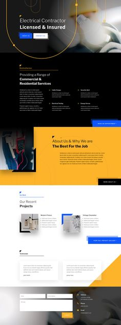 Get a FREE Electrician Layout Pack for Divi #WordPress #Divi #free #layout Website Layout Template, Template Web, Web Layout, Layout Design, Edge Design, Web Page Templates, Design Templates, Design Color, Ui Design