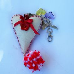 pendant  bag gift   folk style Love red Heart by BrillianceDecor
