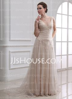 A-Line/Princess V-neck Court Train Satin Tulle Wedding Dress With Lace Beadwork (002000313)