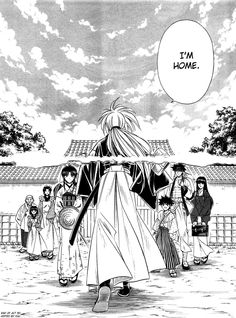 Rurouni Kenshin - at conclusion of central arc. The picture from the manga spans two pages, so actually a nice scanning job.