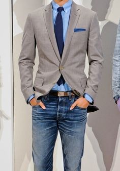 Grey Blazer — Light Blue Dress Shirt — Navy Tie — Brown Leather Belt — Blue Jeans — Navy Polka Dot Cotton Pocket Square