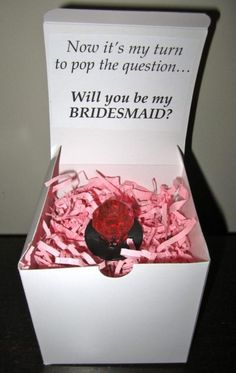 My turn to pop the question, Will you be my bridesmaid?    @Sara Smolinski heres a cute idea!! ;)