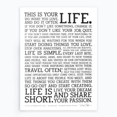 This is your life.Get the original letterpress Holstee Manifesto poster today! Infj, John Petrucci, Tumblr Relationship, Definition Of Success, This Is Your Life, Goal Quotes, Success Quotes, Life Quotes To Live By, Meaningful Life