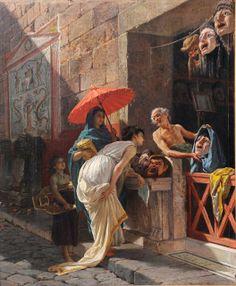 CESARE MARIANI (1826-1901) Italian The Mask Seller, a Roman street scene, dated 1875. http://themaskedlady.blogspot.com.es/