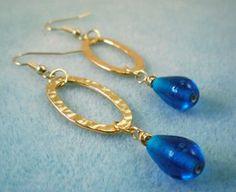 Regal Hammered Hoop Bead Earrings | AllFreeJewelryMaking.com