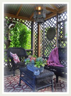 Lovely lattice creates a private room and still lets the breeze through--I love this idea.