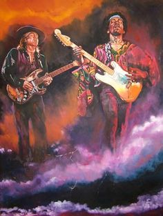 Jimi Hendrix and Stevie Ray Vaughan, oil on canvas