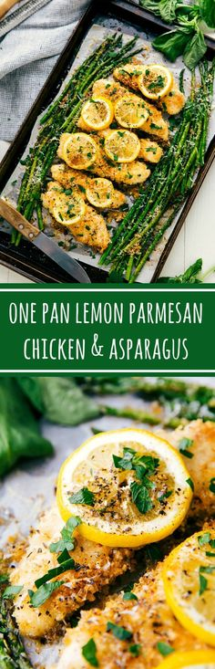 The best One-Pan Lemon Garlic Parmesan Chicken & Asparagus Healthy Meals, Healthy Eating, Healthy Recipes, Healthy Food, Healthy Asparagus Recipes, Vegetarian Recipes, Vegetarian Chicken, Diet Meals, Healthy Lunches