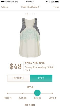 Skies are blue sherry embroidery detail tank