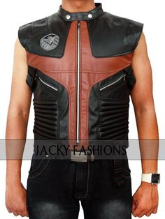 We present the further courageous garment of The Avengers Hawkeye Leather Vest.  By wearing this clothing, you can accomplish the need of looking charming and pleasant. Order speedily and attain free worldwide shipping and 30 day easy return/exchange.