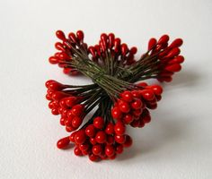 Advent Decorations Vintage Holy Stamens Seeds Christmas Millinery Trim Paris Silk Artificial Flowers RibbonWork Mini Doll House 12 double Ps by MillineryJewellery on Etsy