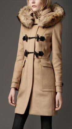 BURBERRY Beige Fur Trim Hooded Duffle Coat