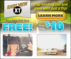 The Easy View XT is a flip down sun visor that attaches to your car visor. It is tinted and transparent so that you can see the road without the glare of sunlight.