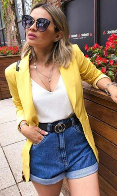 54 Attractive Summer Outfits For Women With Jeans Pants Outfits Primavera, Cute Summer Outfits, Casual Outfits, Cute Outfits, Emo Outfits, Jean Short Outfits, Short Jeans, Look Fashion, Fashion Outfits