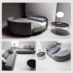 How creative for a studio apartment or small condo! Living room by day, bedroom by night! But what stops the bed springing apart and depositing one on the floor?