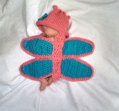 Newborn baby girl Crochet butterfly Outfit Hat Set Photo Prop baby shower costume Newborn crochet outfit butterfly wings SMOKE FREE HOME