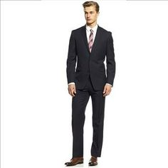 Bar III 2 PC. Suit Navy Tonal Check Slim Fit Size: 36R x30W/30L – Retail: $550. | Property Room