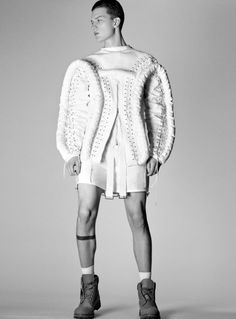 Bastian Thiery shot by Ben Lamberty and styled by Julian Antetomaso with a selection of white pieces, for VMan.