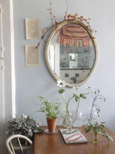 nice plants and mirror