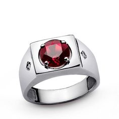 Ruby Men's Ring, Ruby Engagement Ring, Ruby Birthstone Ring, Mens Round Ruby Ring with Natural Diamonds, Men's Ring Sterling Silver Amethyst Gemstone, Purple Amethyst, Blue Sapphire, Green Emerald Ring, Elo 7, Sterling Silver Mens Rings, Silver Jewelry, 925 Silver, Silver Earrings