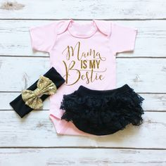 Mama Is My Bestie Pink Baby Girl Onesie Outfit with Gold Glitter and Black Lace Ruffle Bottom Bloomers and Matching Black and Gold Sequin Bow Headband.