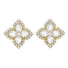 Diamond And White Topaz Petal Stud Earrings, £1,900 | Kiki McDonough