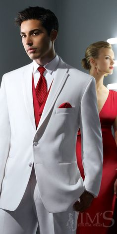 White Groom's Tux with Red Accents...but imagine it with GREEEEN accents