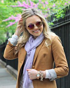 bowsandsequins.com Pastel Polka Dot Scarf with Camel Blazer