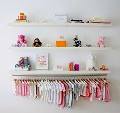 wall shelves and hanging rod in nursery...I want to do a smaller scale version of this above the dresser, but I'm not sure how to hang it on the wall in our apartment without lots of holes.