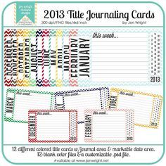 2013 Monthly Journal Cards-Printable 4x6 for Project Life, Project 365 and Scrapbooking
