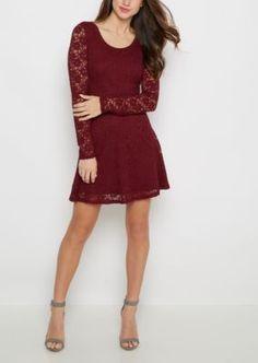 Burgundy Burn Out Skater Dress Miss Behave Girls Tween