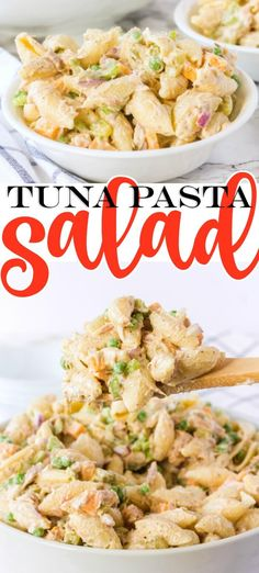 CREAMY TUNA NOODLES - Tuna pasta salad made with creamy dressing, peas, and cheddar cheese is the ultimate spring and summer side dish! Easy Salad Recipes, Chicken Salad Recipes, Entree Recipes, Easy Salads, Vegan Recipes Easy, Seafood Recipes, Pasta Recipes, Fish Recipes, Italian Recipes