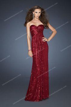 Crisscrossed Open Back Sequin La Femme 18414 Strapless Prom Dresses