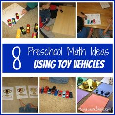 8 Preschool Math Ideas -- using toy vehicles! - The Measured Mom definitely going to incorporate some of these at MDO! Numbers Preschool, Preschool Lessons, Preschool Classroom, Preschool Learning, Kindergarten Math, Kids Learning, Ordinal Numbers, Classroom Ideas, Math For Kids
