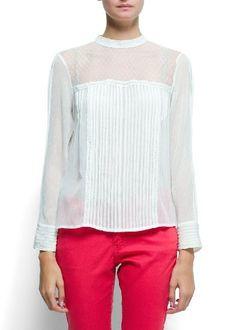 Amazon.com: Women's Plumeti pin tuck blouse: MANGO On-Line