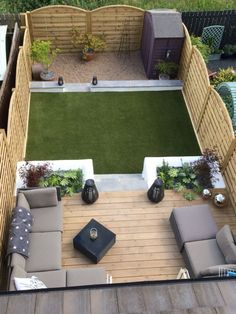 Decking garden furniture and plant boxes garden patio area # Backyard Garden Landscape, Small Backyard Landscaping, Terrace Garden, Backyard Patio, Backyard Ideas, Landscaping Ideas, Water Garden, Patio Ideas, Mulch Landscaping