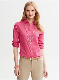 Petite non-iron fitted sateen shirt