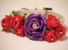 Purple Red Wedding Dog Collar. Purle Red Floral with Rhinestones -High Quality Leather Collar, Wedding Dog Accessory