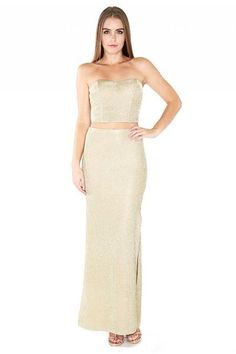 cd6a3d534e4 Naughty Grl Charming Two Piece Maxi Set - Gold