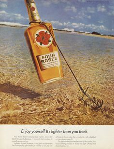 1967 Four Roses Whiskey Ad Bottle Anchor Ocean by AdVintageCom