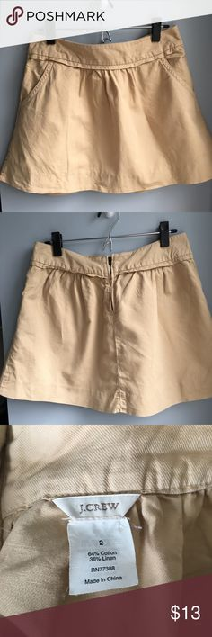 "J. Crew tan mini skirt J. Crew tan mini skirt, small pleats, with pockets! Size 2 great condition. Measurements laying flat waist 15.5"", length 15.5"" J. Crew Skirts"