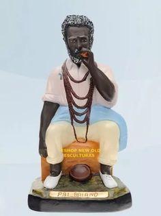 linda escultura preto velho pai baiano 50cm unica  ml