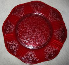 Ruby Red American Sweetheart Macbeth Evans Plate 8 5"
