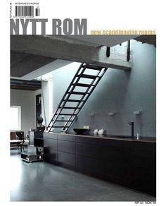 Nytt Rom #32 Latest Issue, Industrial Chic, Minimalism, Bathtub, Stairs, Loft, Interior, Magazines, Design